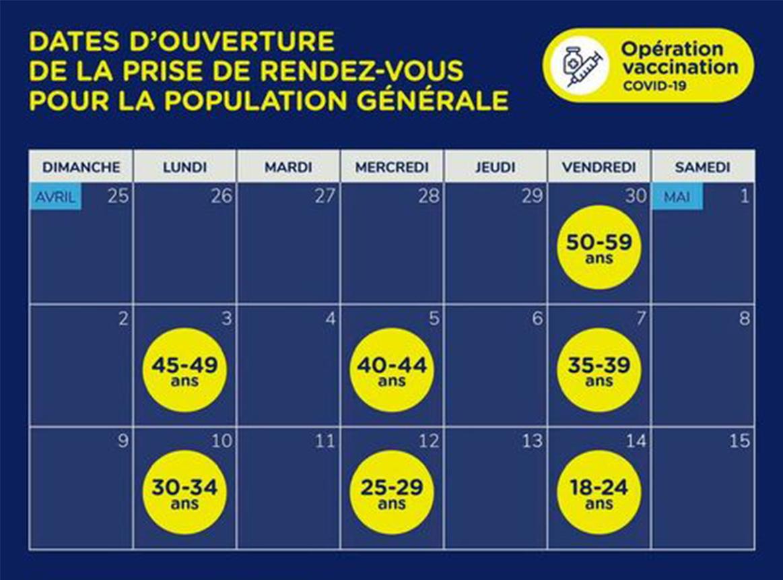 Le calendrier pour la suite de la campagne de vaccination contre la COVID-19 a été annoncé